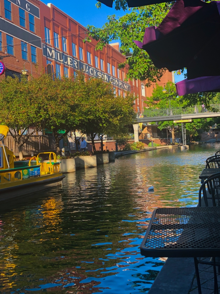 Sitting outside at a restaurant along the canal in Bricktown in Oklahoma City, Oklahoma