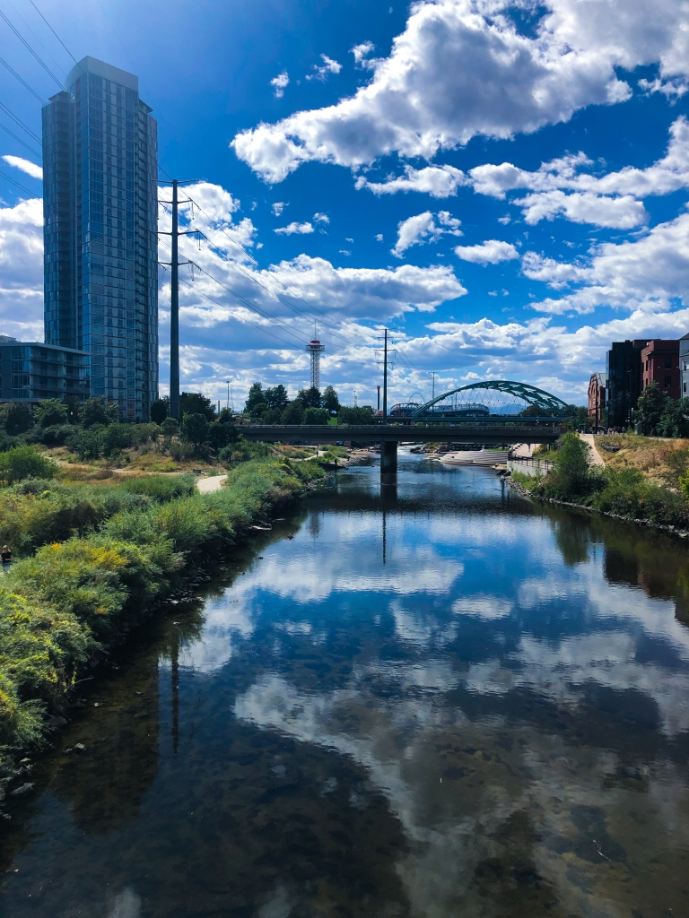 image of the South Platte River flowing through Denver, CO