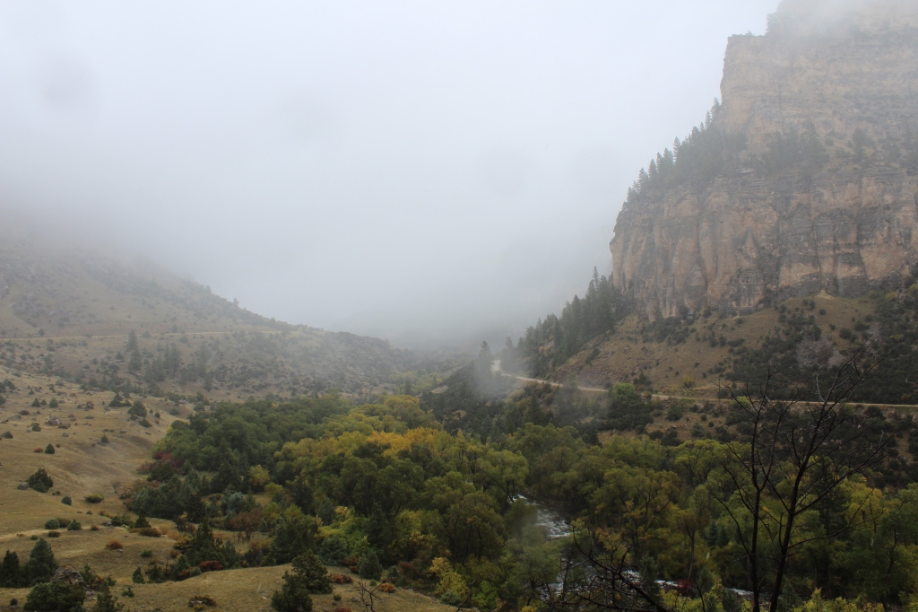 image of a foggy mountain valley