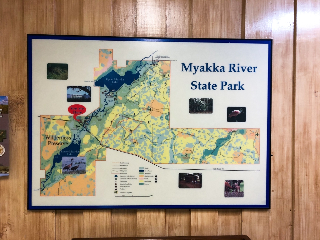 map of the park in the visitors center