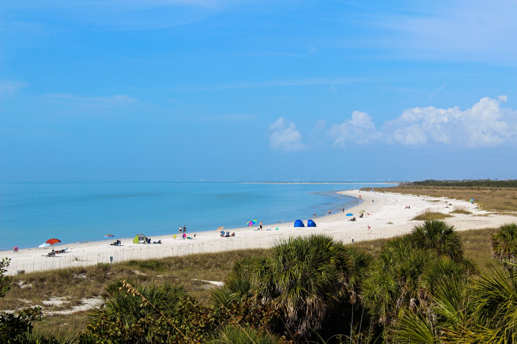 view of the beach from the top of Fort De Soto fort
