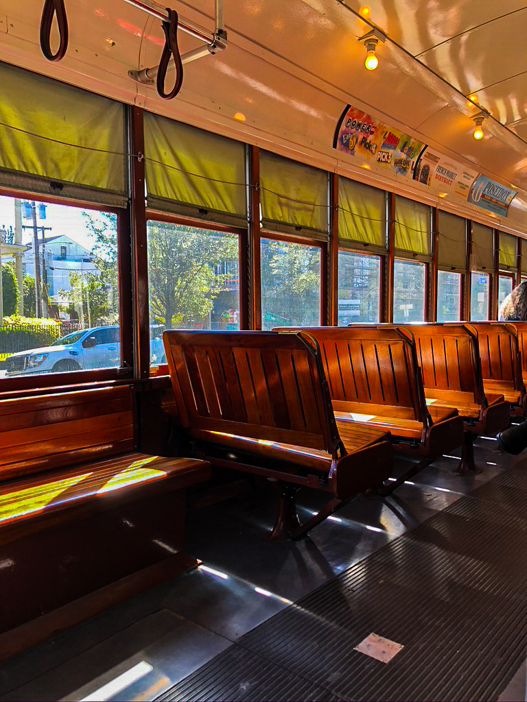 seats inside the st. charles streetcar