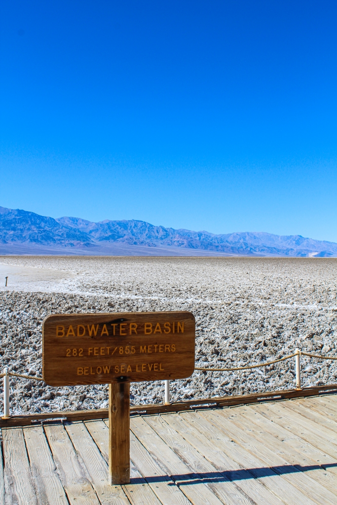 Sign marking Badwater Basin at 282 feet or 855 meters below sea level