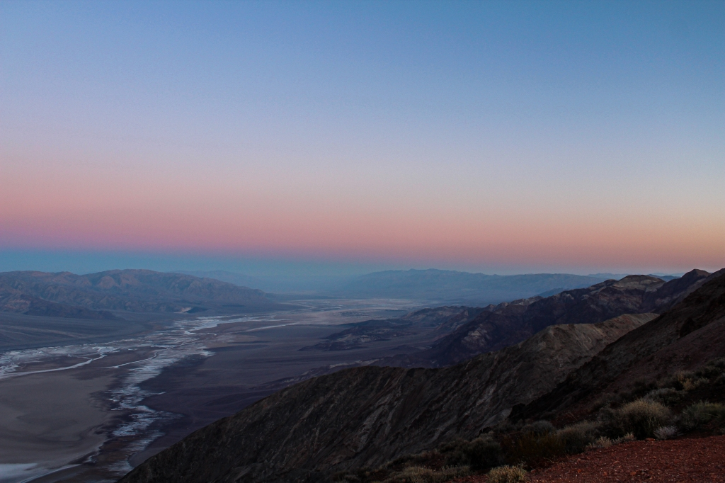 view of Death Valley at sunrise from dante's view